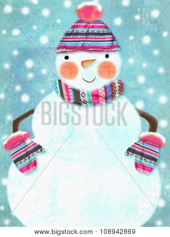 Illustration Of Ruddy Snowman Wearing Scarf, Hat With Pompon, Gloves Isolated On Snowing Background
