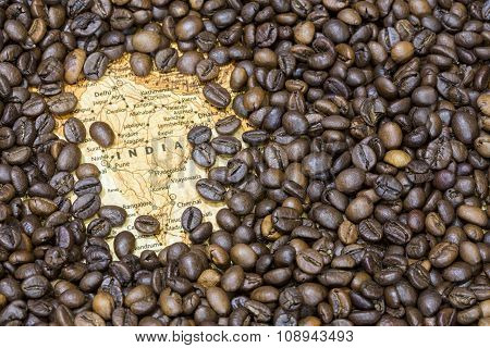 Map Of India Under A Background Of Coffee Beans