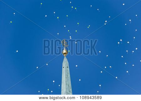 Steeple Church With Balloons In The Sky