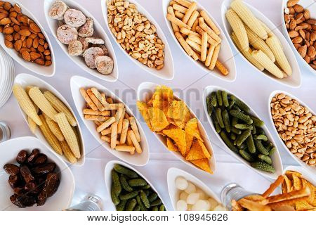Buffet snack appetizers for party top view poster