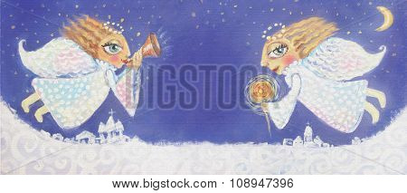 Illustration Of Cute Little Christmas Angels With Sparkler And Trumpet. Hand Painted Christmas Pictu