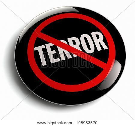 Anti Terror Campaign Badge On White