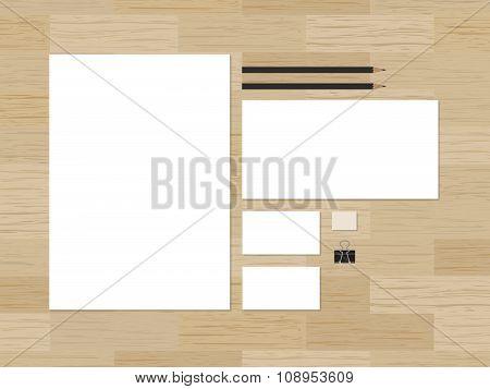 Blank branding mockup for CI presentation on wooden background. Vector illustration. poster