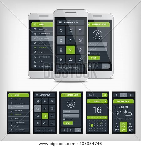Set of mobile user aplication interface template.