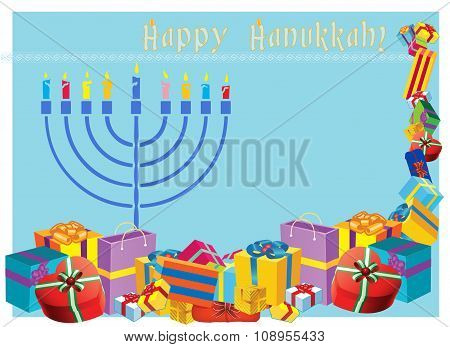 Happy Hanukkah Colorful Holiday Illustration With Menorah And Holiday Presents.