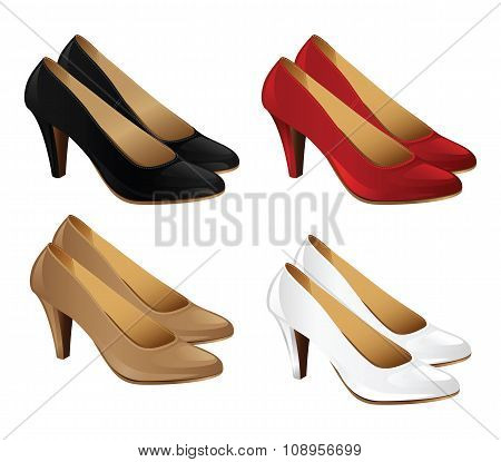 Set of classic woman shoes.