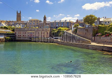 Abbey Warehouse In Penzance Harbour, Cornwall, England