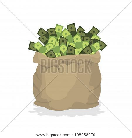Bag Money. Large Burlap Sack With Cash. Dollars In Bag. Wealth In  Bag.