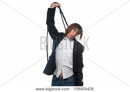 Young brunette man with whip, bad news