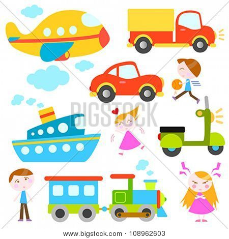 cartoon vehicles and kids vector
