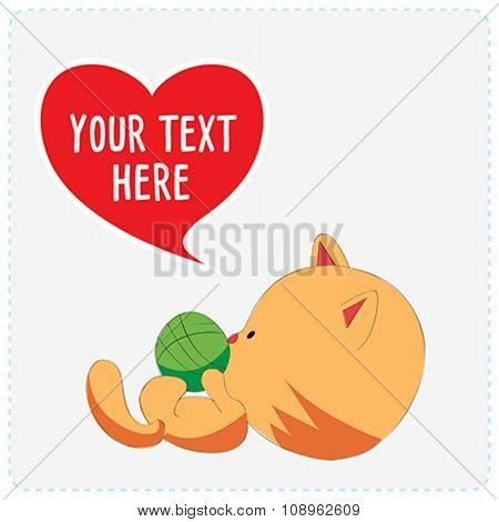 Cartoon cute cat with heart symbol. Vector Illustration