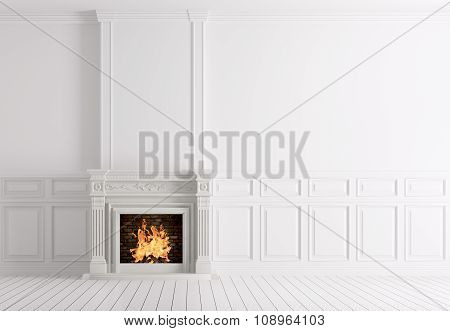 Empty Classic White Interior Of A Room With Fireplace 3D Rendering