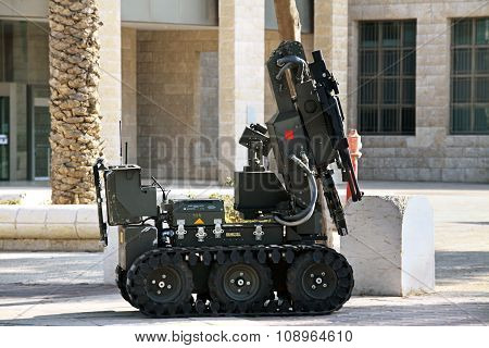 Robot Demining Suspicious Objects On The Street In Be'er Sheva