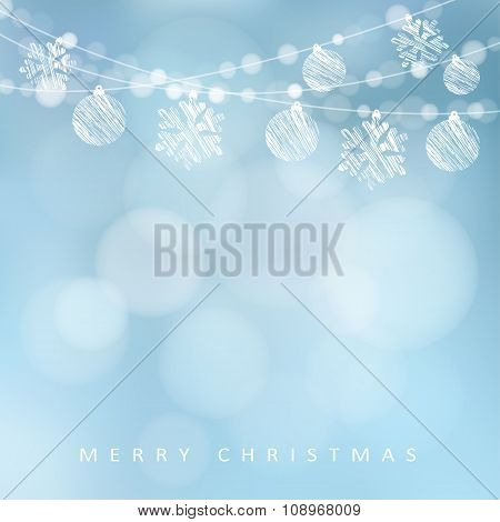 Christmas Greeting Card With Garland Of Lights, Christmas Balls And Snowflakes, Vector