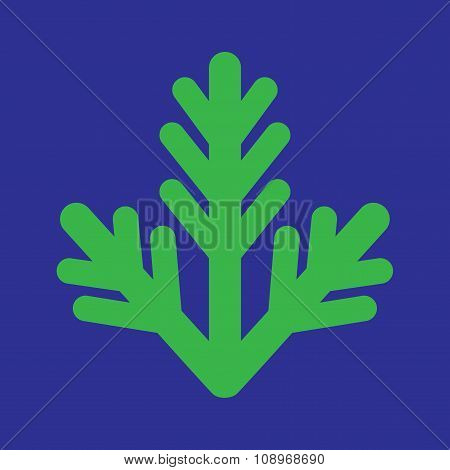 flat icon on blue background fur-tree branch