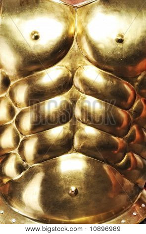 Close-up of a nice golden body armour poster