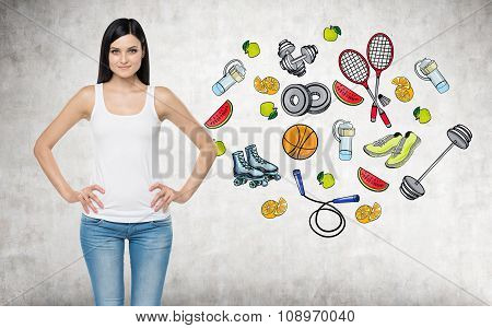 A Beautiful Brunette Lady Who Is Trying To Make A Choice In Favour Of A Certain Sport Activity. Colo