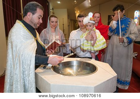 Houston, Tx/usa - 04 04 2015: Christian Baptising A Girl In St. Kevork Armenian Church In Houston, T