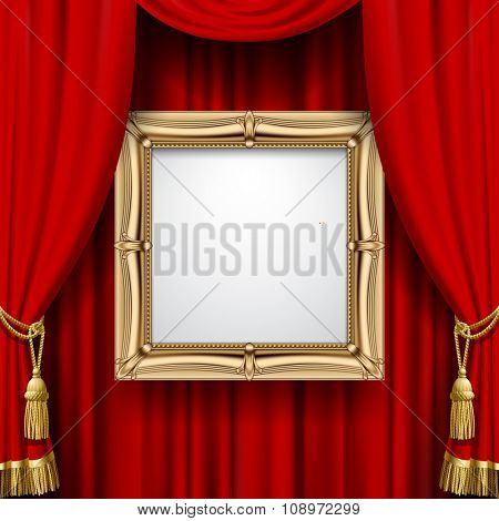 Suspended gold frame on the red curtain background. Square presentation artistic poster and placard