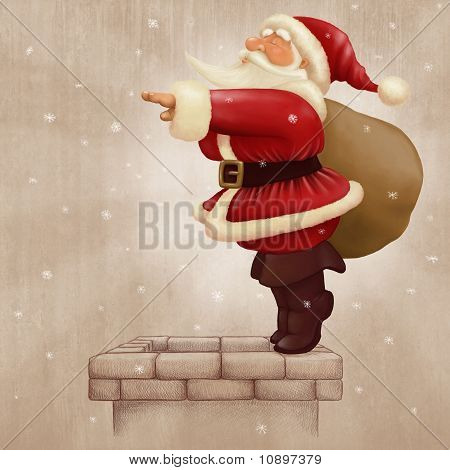 Santa Claus Dive In The Fireplace
