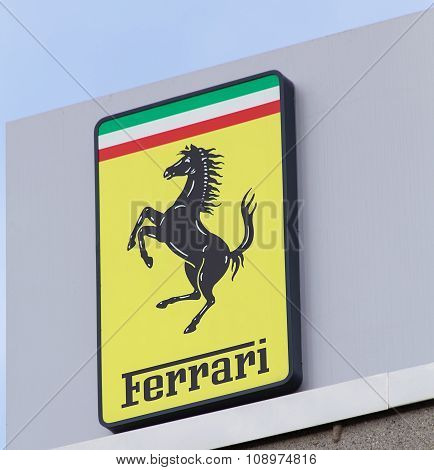 Ferrari Sign On The Top Of The Octane 126 Office Building