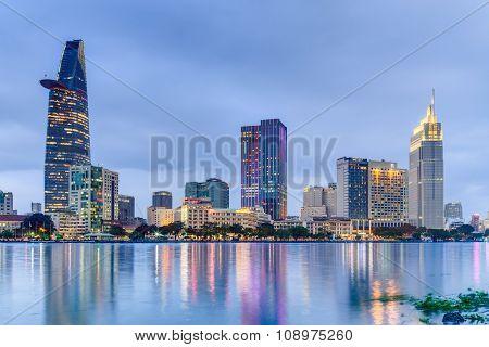 Ho Chi Minh City, Saigon/vietnam - Circa August 2015: Lights Of Saigon Downtown Skyline Are Reflecte