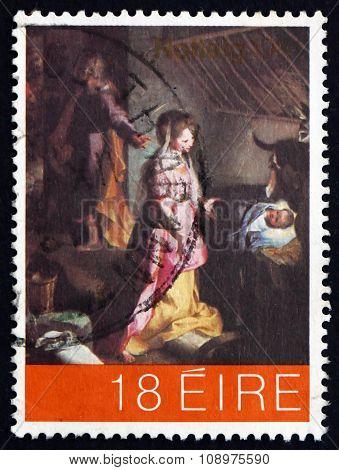 Postage Stamp Ireland 1981 Nativity, By Federico Barocci