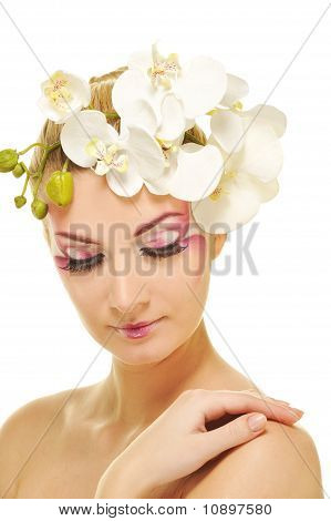 Picture of a beautiful woman with creative make-up