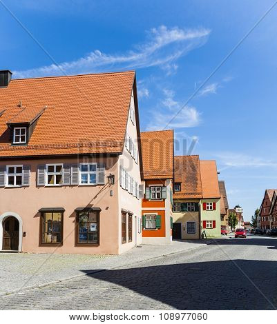 DINKELSBUEHL, GERMANY - JUNE 3, 2011: romantic Dinkelsbuehl city of late middleages and timbered houses