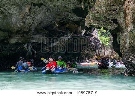 Phang Nga Bay, Thailand - Circa September 2015: Tourist Kayaking Tours In Phang Nga Bay Of Andaman S