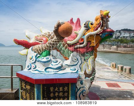Little Dragon Statue In Guan Yin Temple.