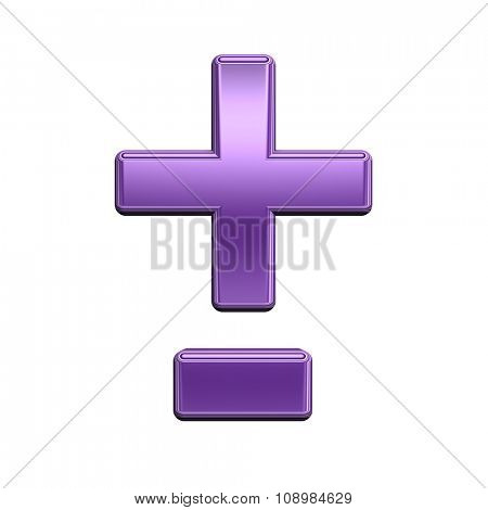 Hyphen, minus, plus marks from shiny purple alphabet set, isolated on white. Computer generated 3D photo rendering.