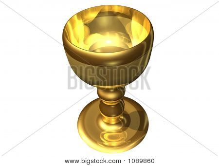golden holy grail on a white background poster