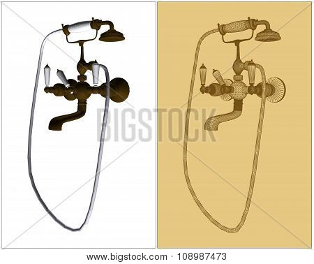 Retro-Styled Copper Faucet Vector