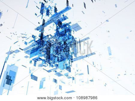 Abstract modern blue wall of office building