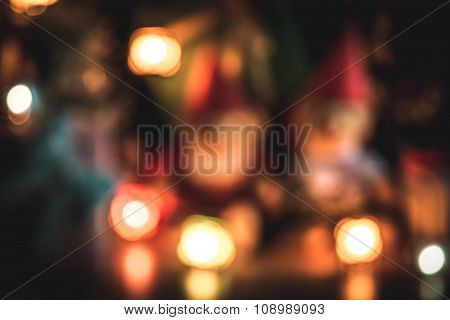Defocused and blur Christmas light the Happiness night. Merry Christmas ornament decorate with Lovel