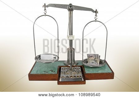 Old Style Pharmacy Scale With Money Heavier Than Small Box
