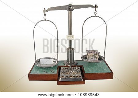 Old Style Pharmacy Scale With Small Box Heavier Than Money