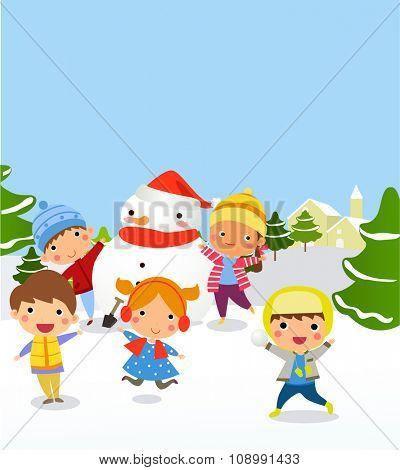 vector illustration of kids making Snowman for Christmas