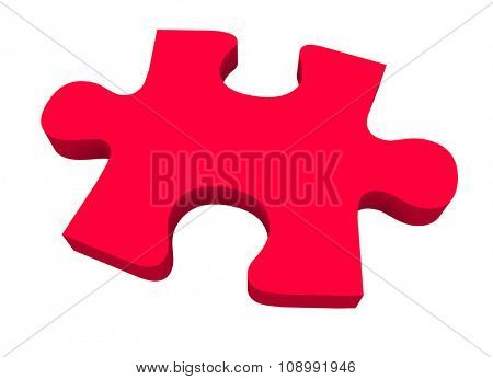 A final red puzzle piece needed to finish or complete a picture or solve a problem poster