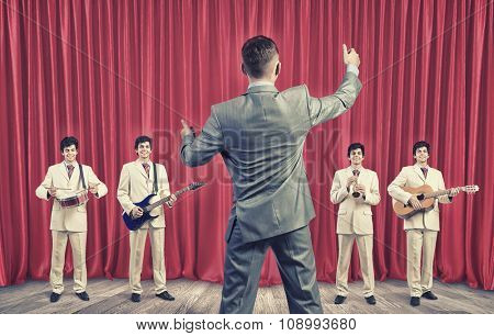 Man orchestra in suit playing different music instruments poster