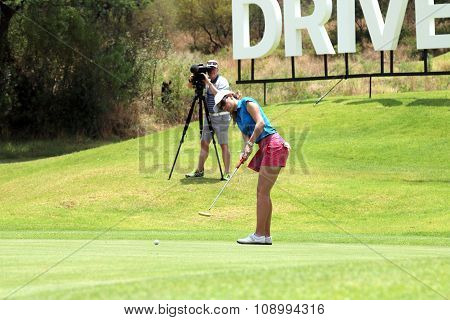 Ladies Pro Golfer Emma Cambrera-bello With Long Put November 2015 In South Africa