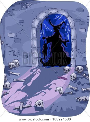 Halloween Illustration of a Witch Entering a Dungeon Filled with Skeletons