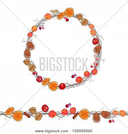 Round season wreath with berries,apples and twigs  isolated on white.
