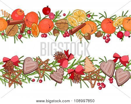 Christmas festive garlands with fruits, cookies, berries isolated on white. Seamless pattern brush.  For season design, announcements, postcards, posters.
