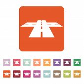 The crossroads icon. Crossway and crossing, intersection, road,  route symbol. Flat Vector illustration. Button Set poster