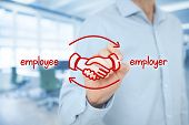 Employee and employer balanced cooperation concept. Businessman (human resources officer) draw scheme with hand shaking of employee and employer. Wide banner composition with office in background. poster