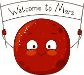 Cartoon Mars character isolated on white background poster
