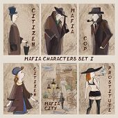 Mafia city characters set.Cardgame. Citizen mafia cop prostitute on absract background poster