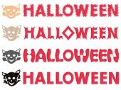 Four Halloween inscriptions and feline stencils isolated on a white background vector illustration poster